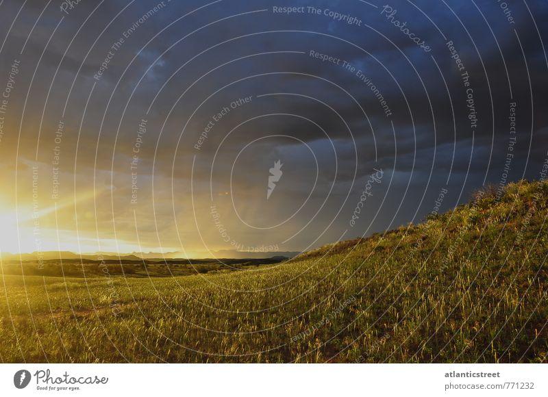 Sonnenuntergang mit Gewitter, Namibia Natur Landschaft Gewitterwolken Sonnenaufgang Sonnenlicht Gras Wiese Hügel Wüste Einsamkeit Ferien & Urlaub & Reisen