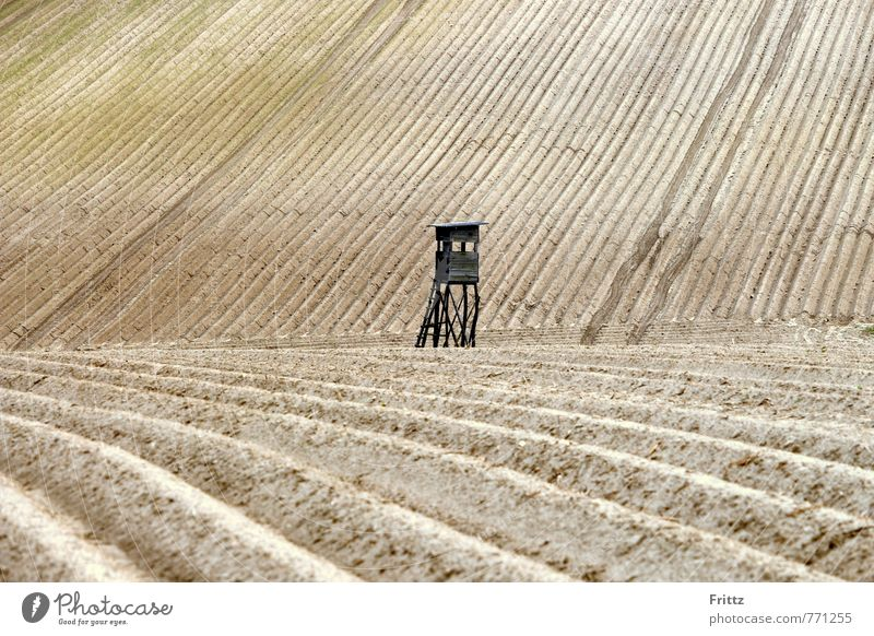 Acker-Hochstand Natur Landschaft braun Erde Feld stehen Jagd Hochsitz Ackerboden Kanzel