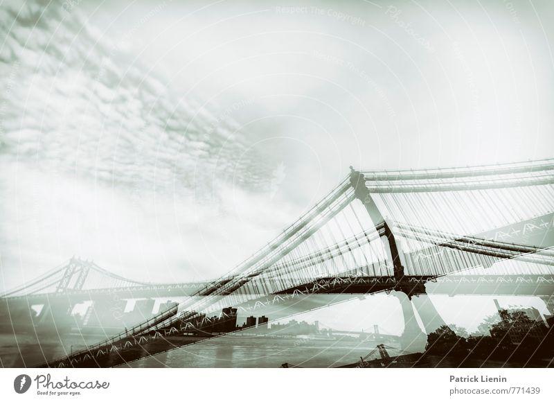 abgehängt Stadt Hafenstadt Skyline bevölkert Brücke Bauwerk Gebäude Architektur ästhetisch Zufriedenheit Bewegung bizarr Business chaotisch einzigartig