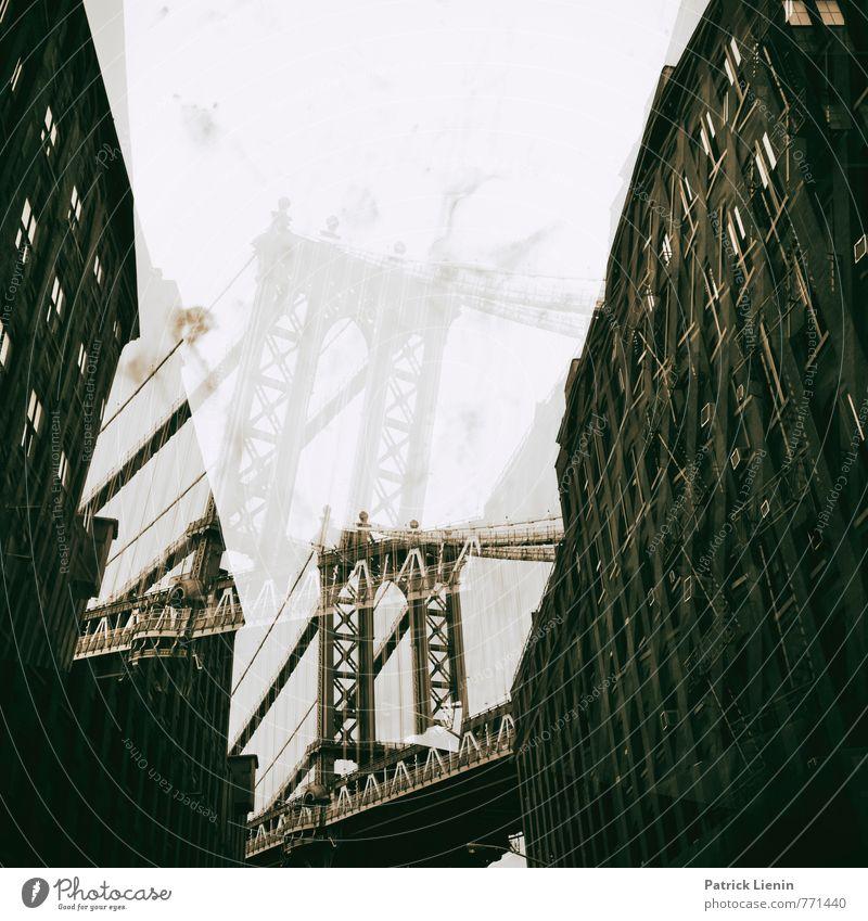 D.U.M.B.O Stadt bevölkert Haus Hochhaus Brücke Bauwerk Gebäude Architektur Fassade Sehenswürdigkeit Wahrzeichen Denkmal Stress Partnerschaft bizarr chaotisch