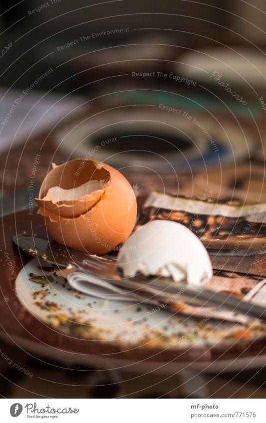 Frohes Frühstück Lebensmittel orange Ernährung Teller Messer