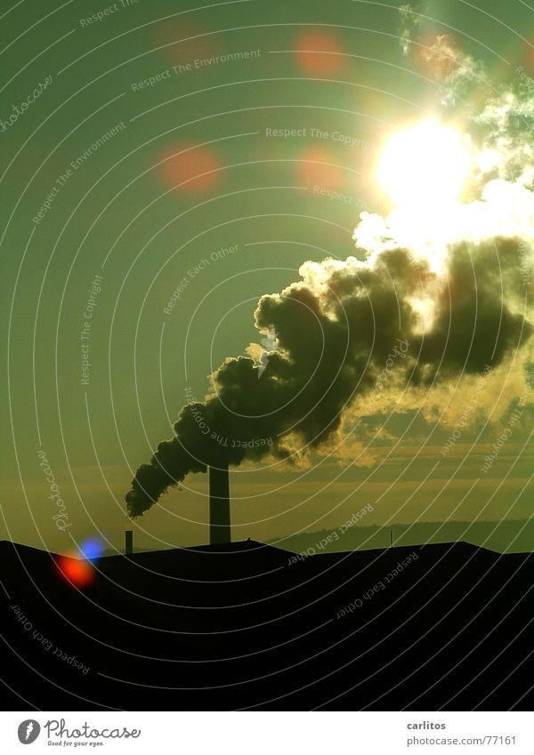 mal so richtig Dampf ablassen ... Himmel Sonne grün blau schwarz Wolken gelb Ferne kalt Wärme frei Horizont leer Industriefotografie Dach Physik