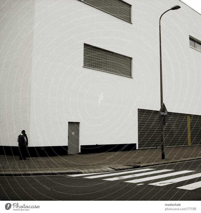 DIE LEICHTIGKEIT DES SEINS Zebrastreifen Mann maskulin Mensch Asphalt Haus Gebäude Fenster Laterne Lampe Regel Stil einfach Geisterstadt leer Einsamkeit