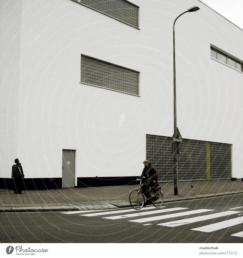 BIKESPOTTING Zebrastreifen Mann maskulin Mensch Asphalt Haus Gebäude Fenster Laterne Lampe Regel Stil einfach Geisterstadt leer Einsamkeit Fahrrad Mobilität