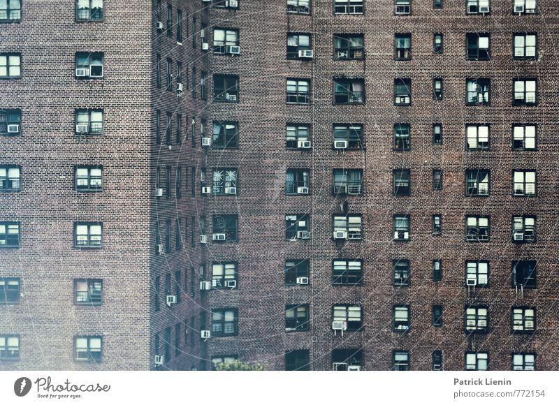 2 Raumwohnung Stadt Skyline bevölkert Haus Hochhaus Bauwerk Gebäude Architektur Mauer Wand Fassade Fenster außergewöhnlich dunkel eckig Unendlichkeit