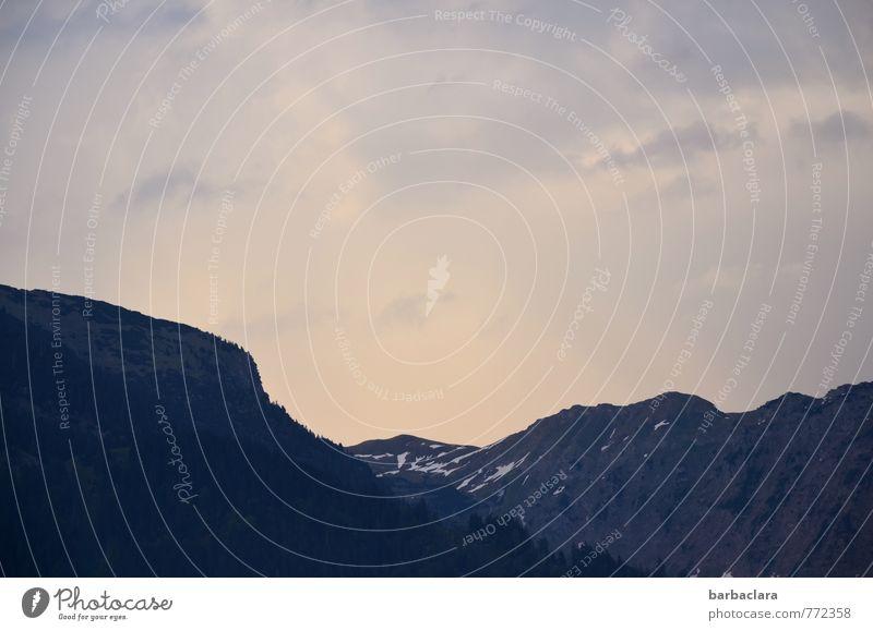 Guten Abend Natur Landschaft Urelemente Erde Himmel Sonnenlicht Schönes Wetter Alpen Berge u. Gebirge Schneebedeckte Gipfel dunkel groß hell Energie Freiheit
