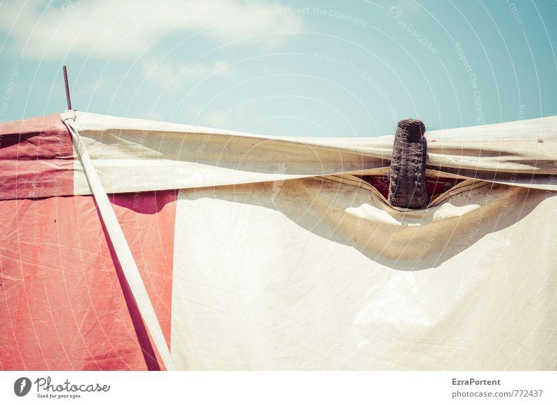 Luft schnappen Umwelt Himmel Wolken Schönes Wetter Tier 1 Linie blau rot weiß anstrengen Farbe Elefant Zirkus Zelt Zirkuszelt Rüssel gefangen Show Freiheit