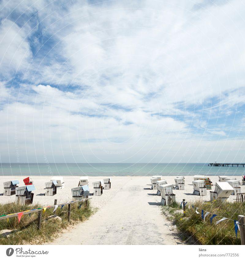 auf zum Strand Himmel Ferien & Urlaub & Reisen Sommer Sonne Meer Erholung Landschaft Wolken Ferne Umwelt Küste Freiheit Sand Horizont Zufriedenheit