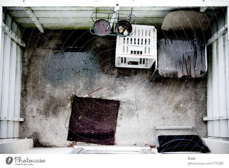 Balkon trés triste Trauer Vogelperspektive dreckig Einsamkeit nass Aschenbecher leer Außenaufnahme bleich Traurigkeit oben Stuhl Campingstuhl verottet