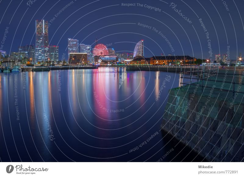 Yokohama Night Stadt Hafenstadt Stadtzentrum Skyline Menschenleer Hochhaus Bauwerk Gebäude Architektur Sehenswürdigkeit Wahrzeichen Landmark Tower Schifffahrt