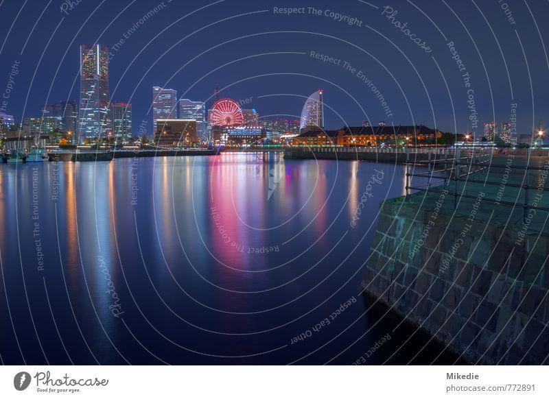 Yokohama Night Stadt ruhig Architektur Gebäude Stimmung Hochhaus Romantik Hafen Bauwerk Schifffahrt Skyline Stadtzentrum Wahrzeichen Sehenswürdigkeit Hafenstadt