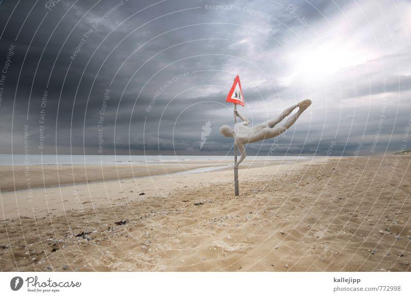 baywatch Mensch maskulin Mann Erwachsene Leben Körper 1 Umwelt Natur Horizont Unwetter Küste Nordsee Zeichen Schilder & Markierungen springen Strandposten