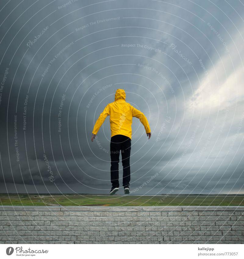 friesennerz Mensch maskulin Mann Erwachsene Körper 1 30-45 Jahre Umwelt Natur Landschaft Horizont Sturm Regen Gewitter Küste Strand Nordsee Insel springen