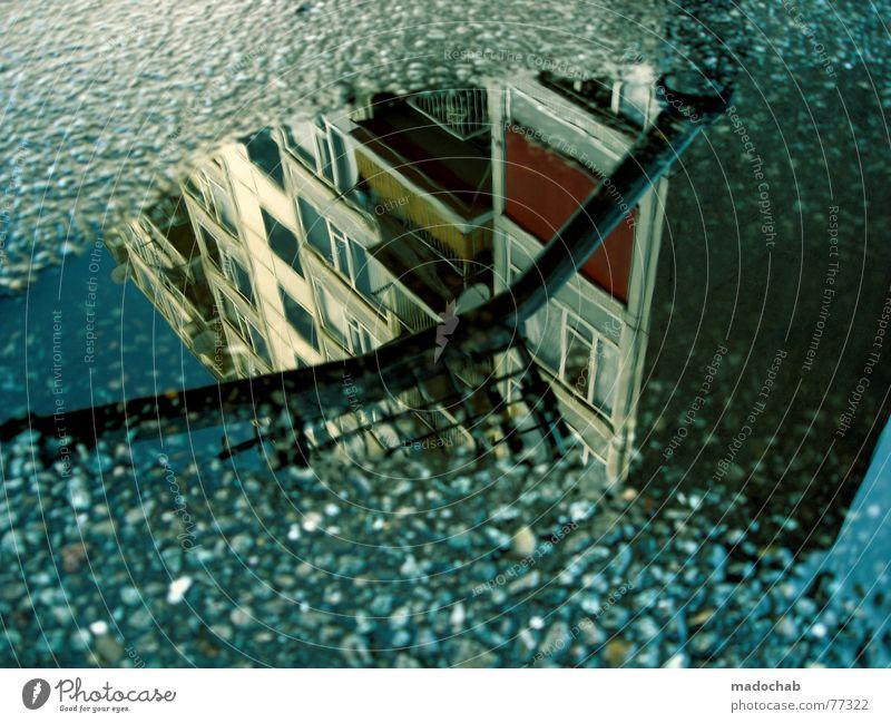 LOVE IS REAL Pfütze wirklich Nebel nass Herbst Haus Hochhaus Gebäude Material Fenster live Block Beton Etage trist dunkel Leidenschaft Spiegel Vermieter Mieter