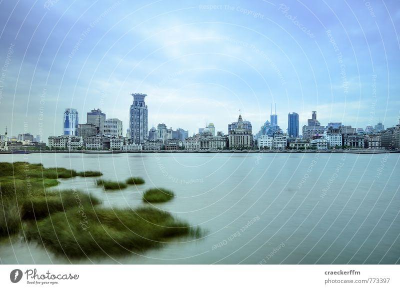 Shanghai Fluss Stadt Stadtzentrum Skyline Menschenleer Sehenswürdigkeit Ferien & Urlaub & Reisen kalt blau 2014 China cityscape Farbfoto Außenaufnahme Tag