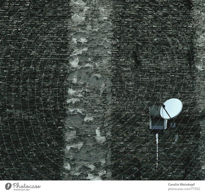 Spionage. Mauer Wand Haus spionieren Fenster Einsamkeit Streifen Trauer unbewusst geheimnisvoll schweigen Fernsehen Fernseher Agent beobachten sat