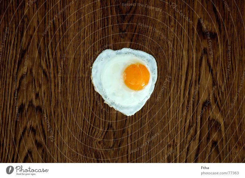 Holz-Ei weiß gelb Holz braun Ernährung Ei obskur Parkett Eigelb Laminat Eiklar Spiegelei gebraten