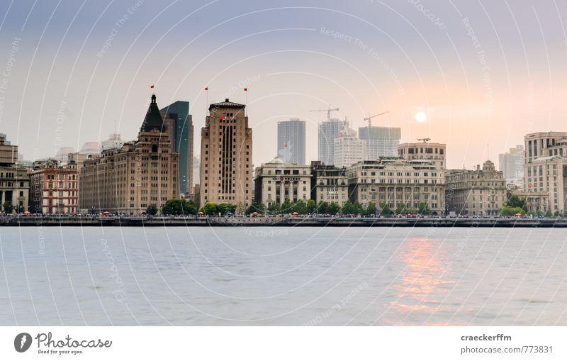 The Bund Ferien & Urlaub & Reisen Tourismus Ferne Sightseeing Städtereise Shanghai China Stadt Stadtzentrum Skyline Bankgebäude Sehenswürdigkeit ästhetisch