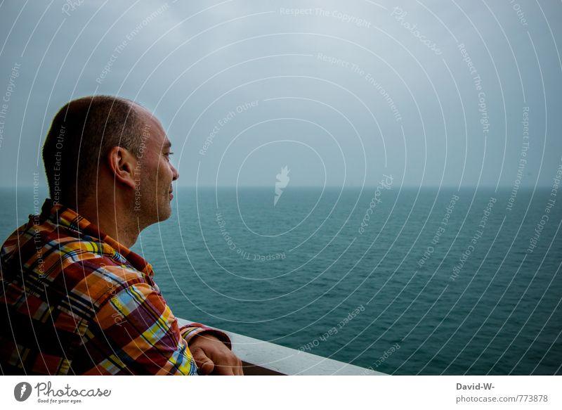 Mann Meer Ozean ruhe Ausblick Urlaub fernweh Ferien & Urlaub & Reisen Schiff blau nebel