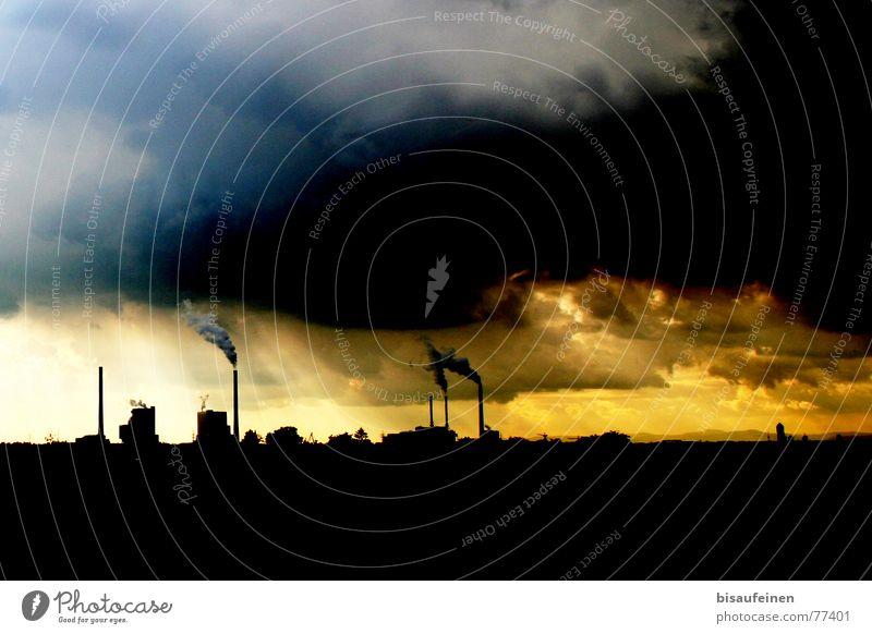 GKM Sonne Fabrik Energiewirtschaft Natur Landschaft Himmel Wolken Horizont Klimawandel Skyline Schornstein Rauch blau gelb Umweltverschmutzung Umweltschutz