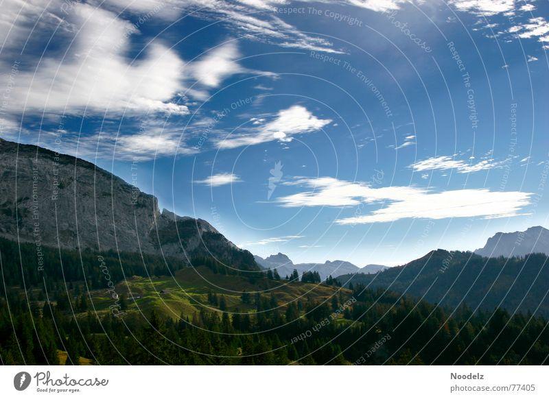 Mountain High Hügel Wiese grün Licht Wolken Natur Berge u. Gebirge Himmel Aussicht Sonne Schatten blau
