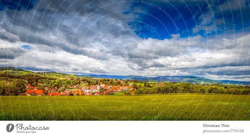 Panorama Ausblick auf Vorau / Hügel Natur Ferien & Urlaub & Reisen Sommer Sonne Baum Landschaft Wolken Umwelt Berge u. Gebirge Wiese Gras Feld Zufriedenheit