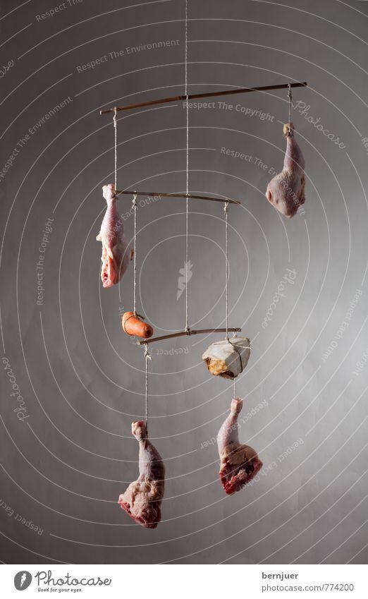 Mobilé (Hühnersuppe) Lebensmittel Fleisch Gemüse Ernährung Bioprodukte Slowfood Billig gut Mobile hühnerschenkel Hähnchen hähnchenschenkel Sellerie Möhre
