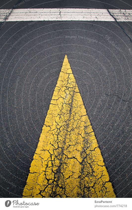 > | Verkehr Verkehrswege Straße Wege & Pfade Zeichen Schilder & Markierungen Verkehrszeichen Linie Pfeil gelb schwarz weiß Design Riss Grafik u. Illustration
