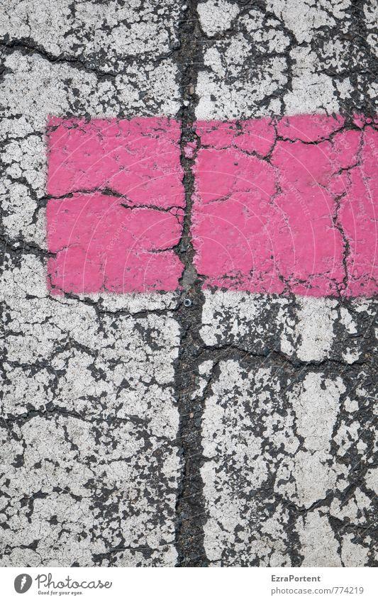 pink auf weiß Verkehrswege Straße Wege & Pfade Zeichen Linie Streifen Netz Netzwerk rosa Farbe schwarz Asphalt Design Stil Grafik u. Illustration