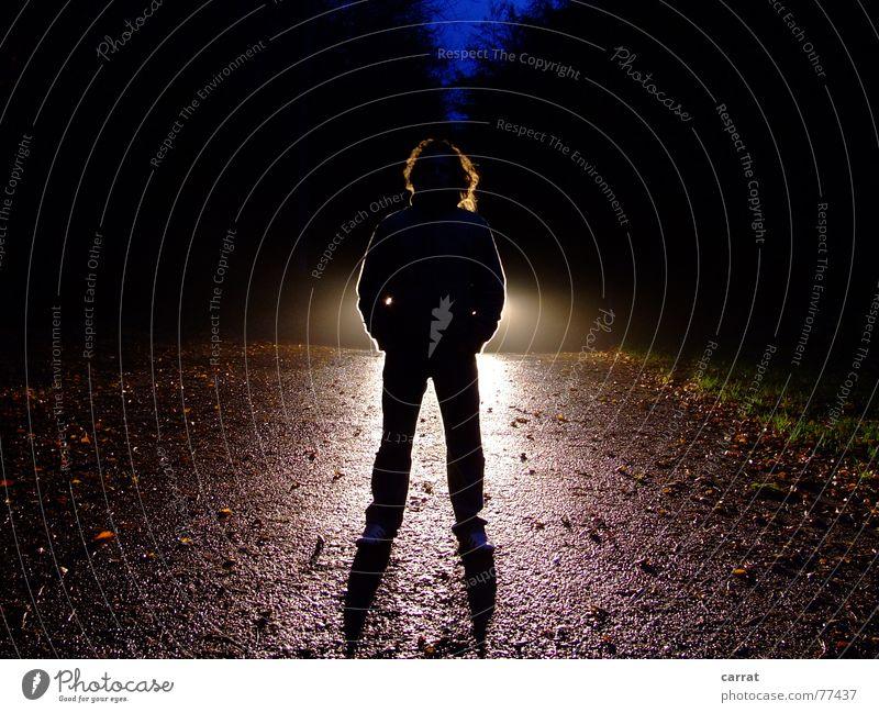 hansfilz Silhouette Licht dunkel schwarz Mann Schnur Musiker Schatten hell blau Junge Haare & Frisuren Scheinwerfer