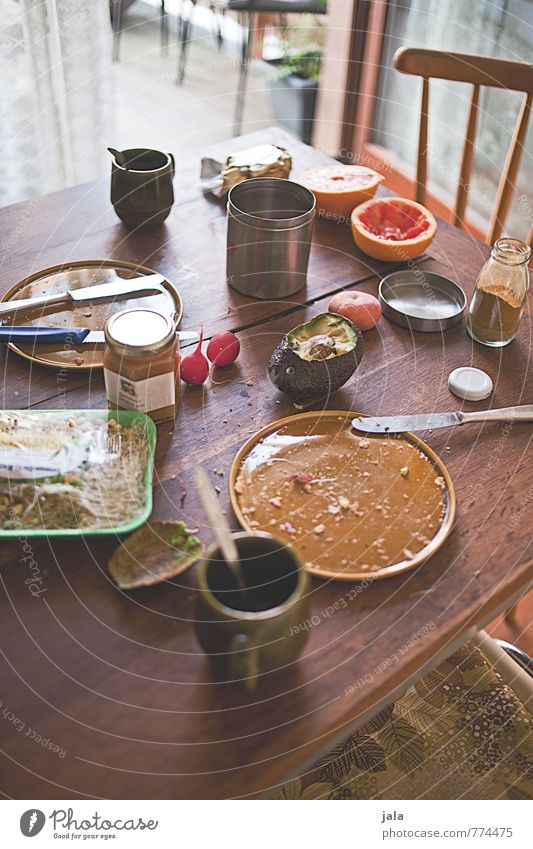 frühstück natürlich Lebensmittel authentisch Ernährung Getränk Kaffee Küche Stuhl Gemüse lecker Appetit & Hunger Bioprodukte Geschirr Frühstück Tasse Teller