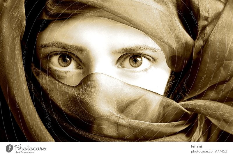 arabic Schleier Arabien Frau Auge Sepia Blick Kontrast