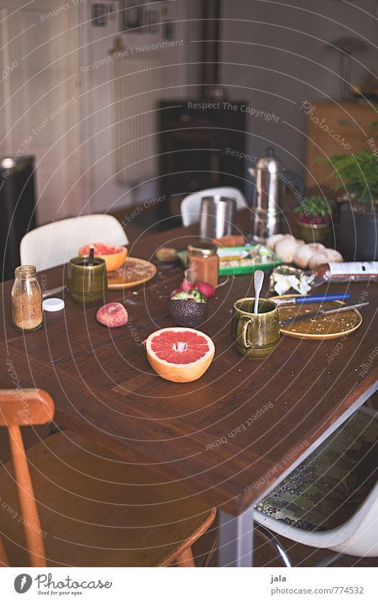 frühstückstisch Lebensmittel Käse Gemüse Frucht Brot Marmelade Ernährung Frühstück Bioprodukte Vegetarische Ernährung Kaffee Espresso Geschirr Teller Tasse