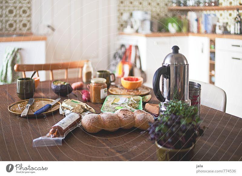 frühstückstisch Lebensmittel Käse Gemüse Frucht Brötchen Ernährung Frühstück Bioprodukte Vegetarische Ernährung Getränk Kaffee Espresso Geschirr Teller Tasse