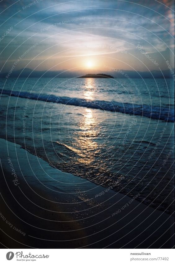 sunset island Sonnenuntergang Island Himmel dark sky quiet cloud wave Sand