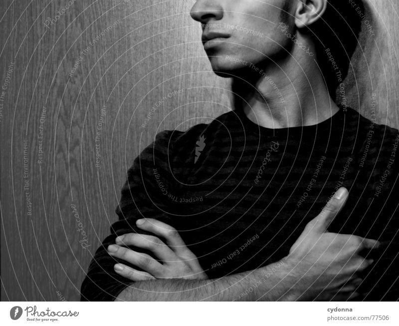Menschenskind XIV Mann Gesicht Wand Holz Stil Körperhaltung Gesichtsausdruck Pullover ernst Anschnitt seriös Maserung