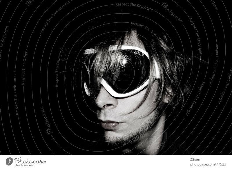 durchblick Mann Gesicht Schnee Stil Haare & Frisuren Coolness Brille Langeweile lässig Durchblick Schneebrille