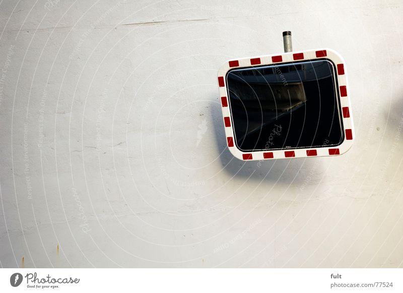 spieglein spieglein an der wand Spiegel Wand Fahrhilfe Autofahren Rahmen gestrichelt Ecke Perspektive Blick