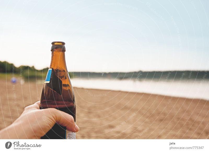kühles blondes Getränk Erfrischungsgetränk Alkohol Bier Flasche Hand Finger Natur Landschaft Himmel Seeufer lecker Durst Durstlöscher Farbfoto Außenaufnahme Tag