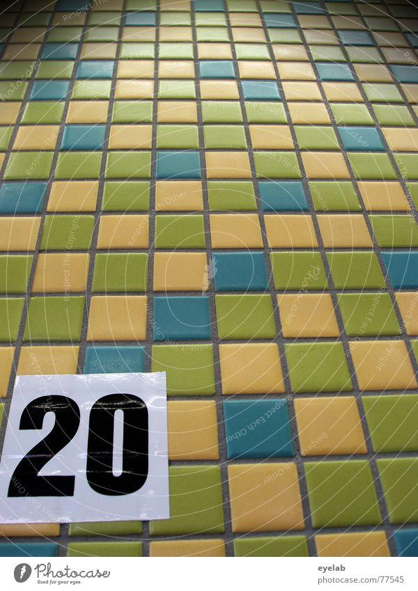 Kachel Racing Baumarkt Supermarkt Ziffern & Zahlen 20 gelb grün weiß schwarz mehrfarbig Markt Fliesen u. Kacheln tile property market store letter number blau