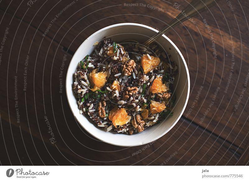 vollwertkost Lebensmittel Frucht Orange Wildreis Nuss Ernährung Mittagessen Bioprodukte Vegetarische Ernährung Schalen & Schüsseln Löffel Gesunde Ernährung