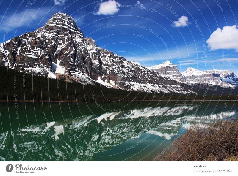 Wolkenzeichen Ferien & Urlaub & Reisen Tourismus Ferne Berge u. Gebirge Natur Landschaft Himmel Frühling Schönes Wetter Felsen Rocky Mountains Gipfel See