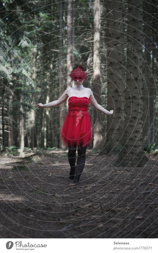 rot Mensch Frau Natur Pflanze Sommer Baum Landschaft Umwelt Erwachsene feminin Party Bekleidung Kleid Maske Karneval