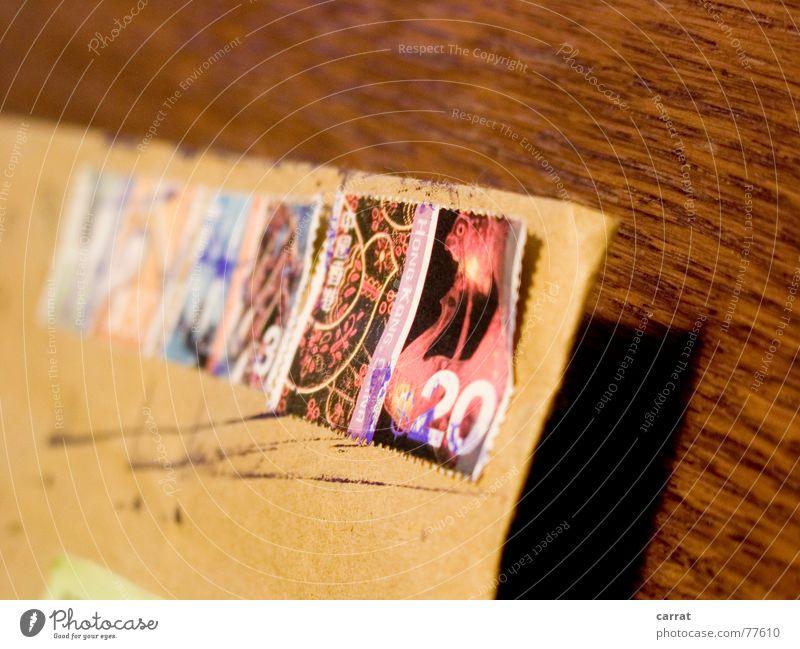 Grüße aus Hong Kong! Post Brief anmelden Versand Briefmarke braun Ferne Sammlung Stempel Ferien & Urlaub & Reisen fremd alt schick Schilder & Markierungen