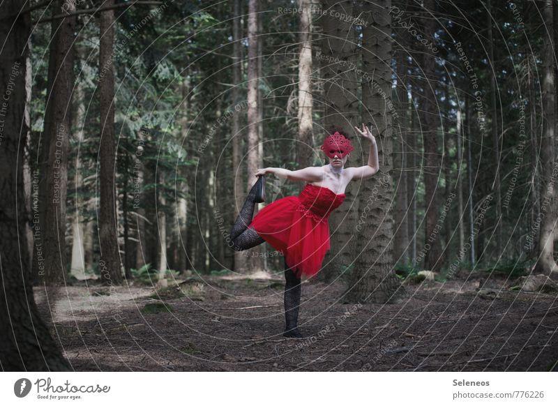 allein tanzen Mensch Frau Natur Jugendliche Pflanze Sommer Baum rot 18-30 Jahre Wald Erwachsene feminin Frühling Mode Tanzen Bekleidung