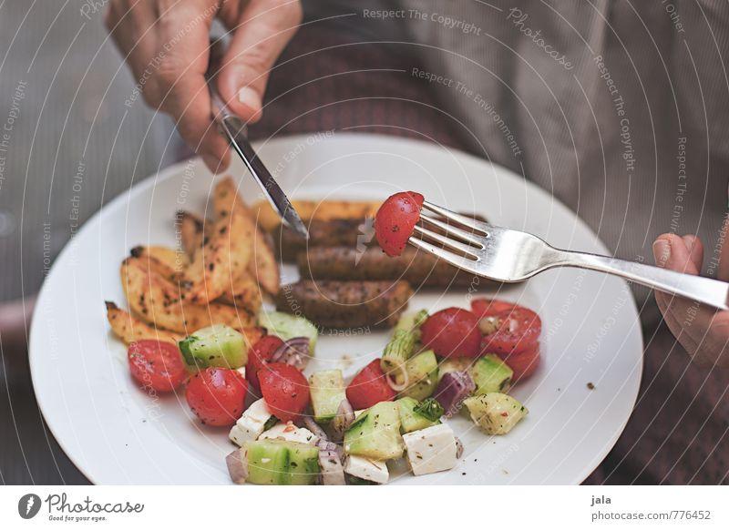 sommerküche Lebensmittel Gemüse Salat Salatbeilage tofuwürste Tofu saitan Schafskäse Tomate Gurke kartoffelschnitten Ernährung Mittagessen Abendessen