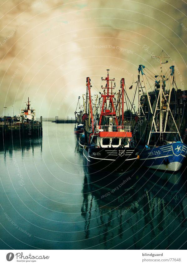 Hafenidylle Neuharlingersiel See Meer Meerwasser nass Wasserfahrzeug Fischerboot rot Ferien & Urlaub & Reisen Ebbe Kurort Ausleger Heck Schiffsbug Steuerbord