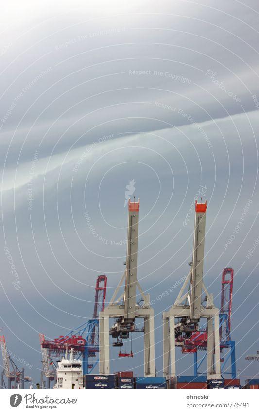 Wetter Kran Industrie Gewitterwolken Klima Klimawandel schlechtes Wetter Unwetter Hamburger Hafen Schifffahrt Container Güterverkehr & Logistik Wirtschaft