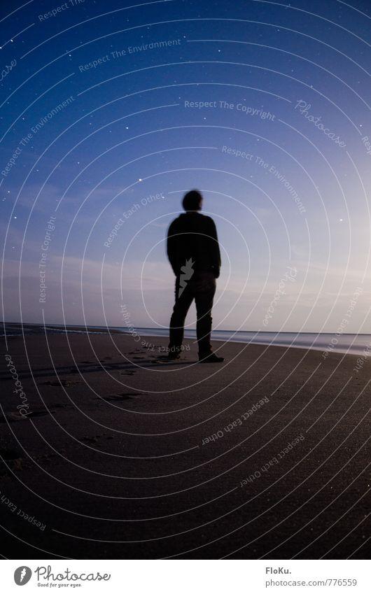 Sternegucker Mensch Jugendliche blau Meer Landschaft ruhig 18-30 Jahre Junger Mann Strand Ferne dunkel Erwachsene Umwelt Küste Freiheit Horizont
