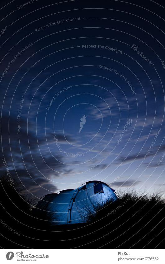 Dünencamping Himmel Natur Ferien & Urlaub & Reisen blau Sommer Wolken Ferne schwarz dunkel Umwelt Gras Freiheit Freizeit & Hobby leuchten Sträucher Ausflug